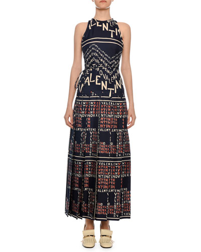 Sleeveless Logo Puzzle-Print A-Line Ankle-Length Silk Twill Dress