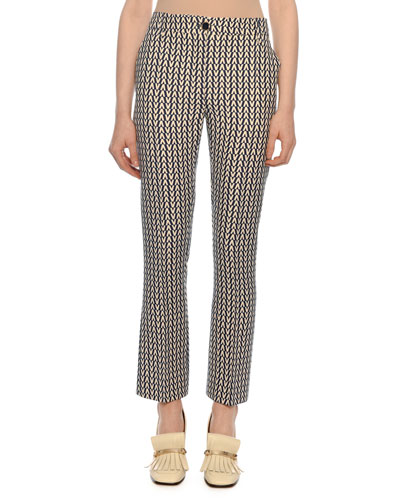 Optical V Logo Straight-Leg Cropped Crepe Couture Pants
