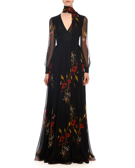 Valentino V-Neck Long-Sleeve Floral-Meadow Print Chiffon Evening Gown
