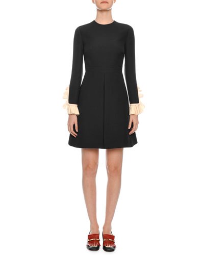 Long-Sleeve Belted Contrast-Cuff Crepe Couture Short Dress