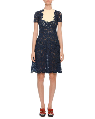 04be3a20bdb Quick Look. Valentino · Short-Sleeve Heavy-Lace A-Line Dress w  Crepe Inset