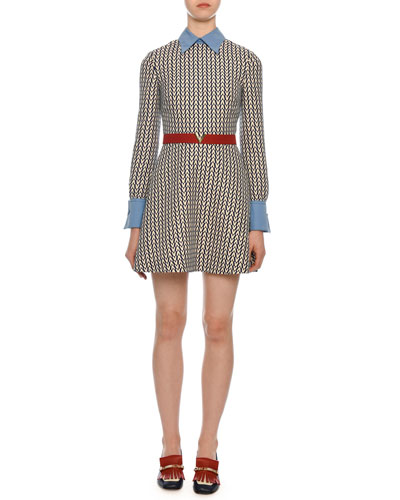 Long-Sleeve Optical V-Logo Collared Dress