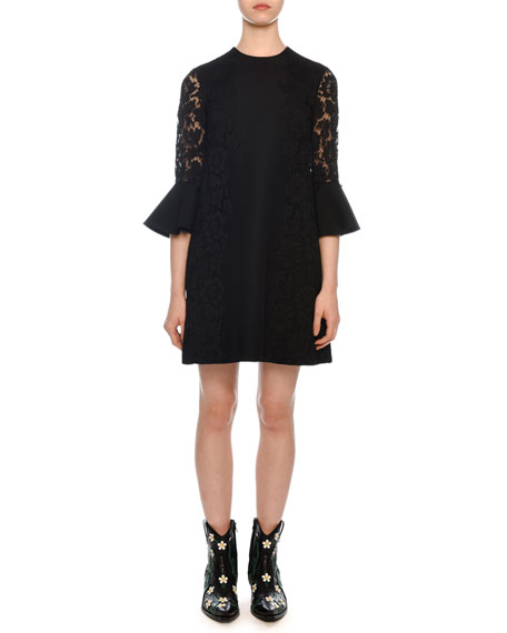 Valentino Jewel-Neck 3/4 Flutter Cuff Crepe Couture Dress
