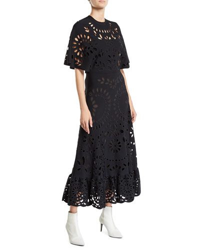 Eyelet Embroidered Short-Sleeve Ankle-Length Dress
