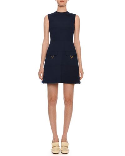 Sleeveless A-Line Crepe Wool Mini Dress w/ Hardware Pockets