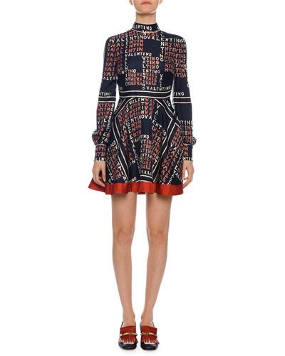 Mock-Neck Long-Sleeve Puzzle-Print Mini Dress
