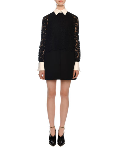 Long-Sleeve Heavy Lace Crepe Dress w/ Contrast Collar & Cuffs