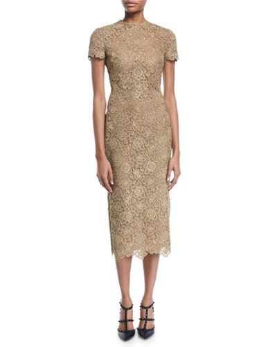 e33f45338f Quick Look. Valentino · Short-Sleeve Metallic Lace Midi Dress. Available in  Gold