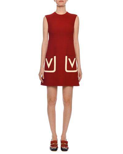 Sleeveless V-Logo Pocket Crepe Wool A-Line Dress