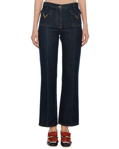 Patch Pocket V-Hardware Ankle Jeans