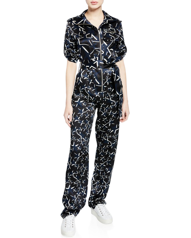 CAROLINA RITZLER Benjamin Long-Sleeve Printed Jumpsuit in Black/White