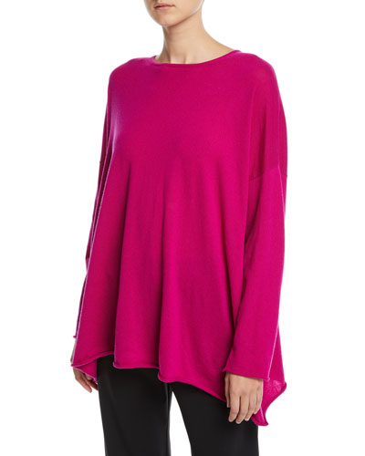 Cashmere Boat-Neck Long-Sleeve A-Line Long Sweater