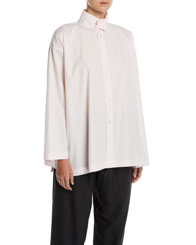 Slim A-Line Two-Collar Button-Front Shirt w/ Step-Hem