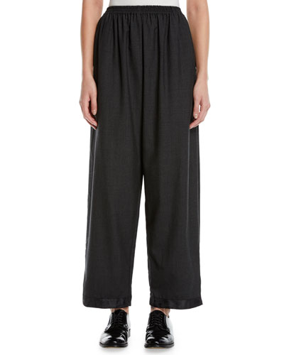 Long Satin-Cuff Japanese Trousers