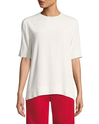 Jewel-Neck Short-Sleeve Georgette Blouse with Cuff Detail