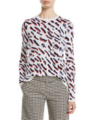 Derek Lam Abstract Animal-Jacquard Fitted Crewneck Sweater