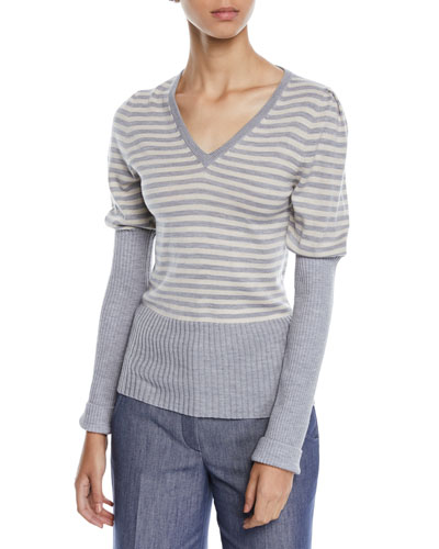 V-Neck Puff-Sleeve Striped Wool Sweater w/ Ribbed Combo