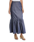 Derek Lam Ruffle-Hem Denim Cotton Long Skirt