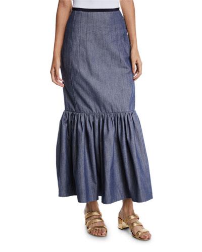 Ruffle-Hem Denim Cotton Long Skirt