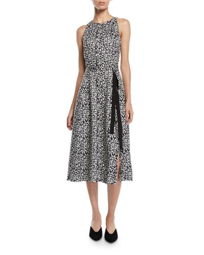 Sleeveless Poppy-Print Silk A-Line Dress w/ Ties