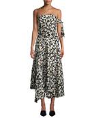 Derek Lam Strapless Poppy-Print Asymmetrical Midi Dress w/