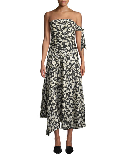 Strapless Poppy-Print Asymmetrical Midi Dress w/ Handkerchief Hem