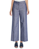 Derek Lam Wide-Leg Denim Culotte Pants