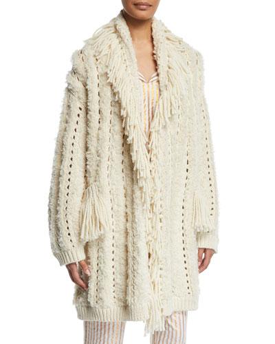 Mila Chunky-Crochet Fringed Open-Front Cardigan