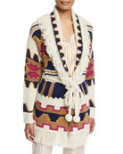 Figue Tala Chunky Intarsia Fringe-Trim Belted Cardigan and