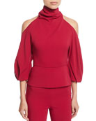 CUSHNIE Turtleneck Cold-Shoulder Blouson-Sleeve Stretch-Fabric