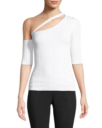 One-Shoulder Short-Sleeve Ribbed Knit Top