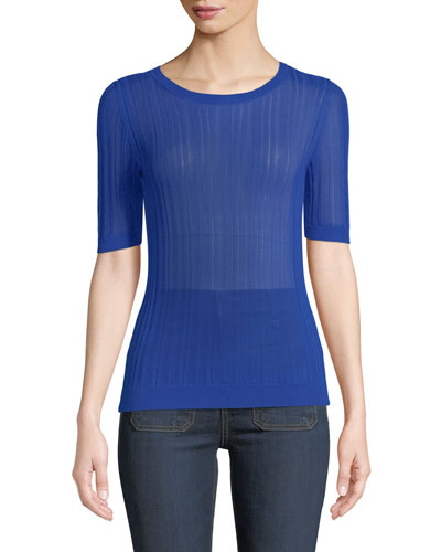 Crewneck Short-Sleeve Semisheer-Knit Pullover Sweater