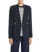 Loro Piana Double-Breasted Silk-Wool Blazer w/ Golden Buttons