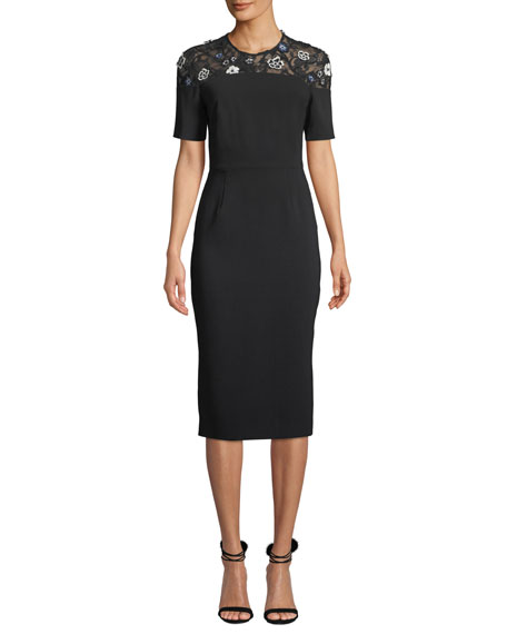Lela Rose Floral Lace-Yoke Short-Sleeve Fitted Sheath Cocktail Dress