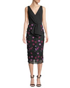 Lela Rose V-Neck Sleeveless Tie-Front Dress w/ Floral