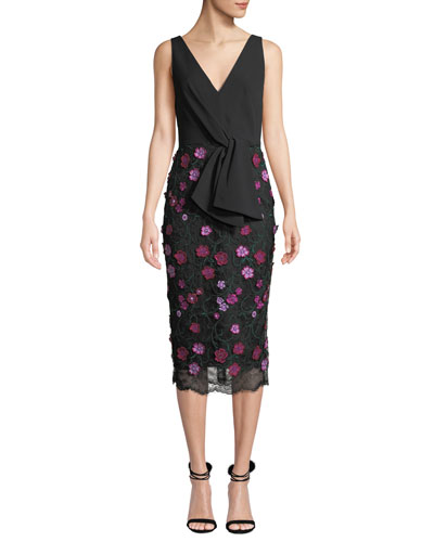 V-Neck Sleeveless Tie-Front Dress w/ Floral Lace Skirt