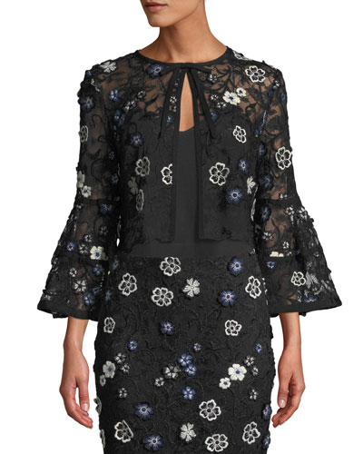 Full-Sleeve Tie-Neck Floral-Lace Cocktail Bolero Jacket