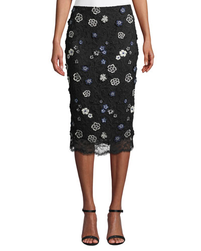 Floral-Lace Knee-Length Pencil Cocktail Skirt