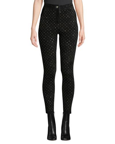 High-Waist Studded Suede Skinny-Leg Jeans