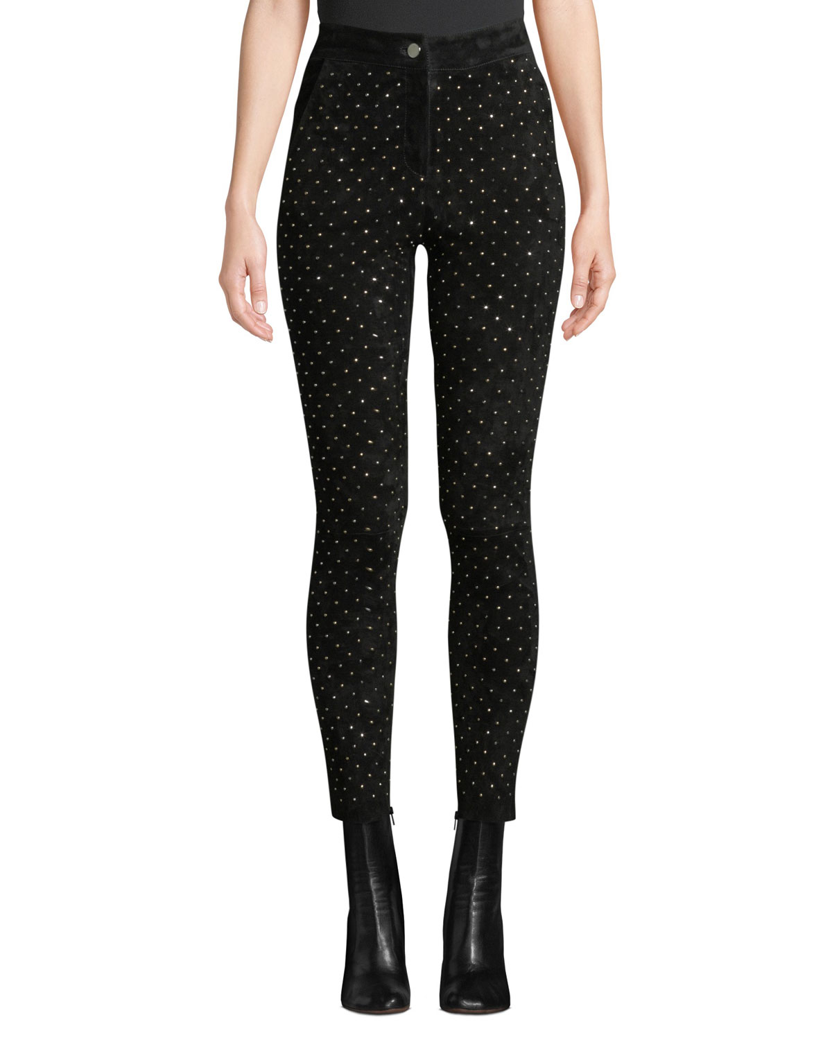 NOUR HAMMOUR High-Waist Studded Suede Skinny-Leg Jeans in Black Pattern