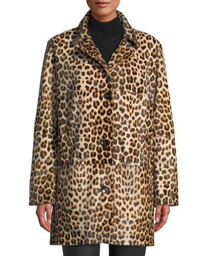 Ines Two-Button Leopard-Print Fur Coat