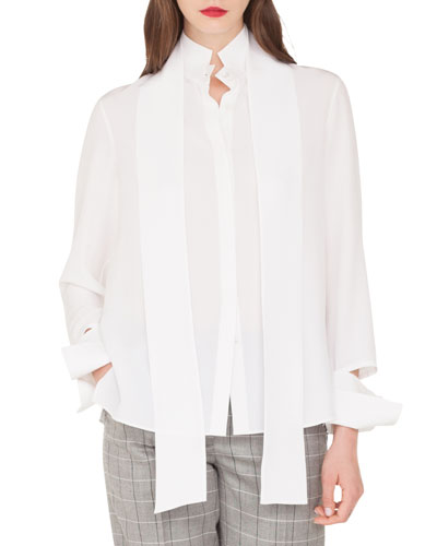 Long-Sleeve Silk Crepe Blouse with Detachable Bow & Cuffs