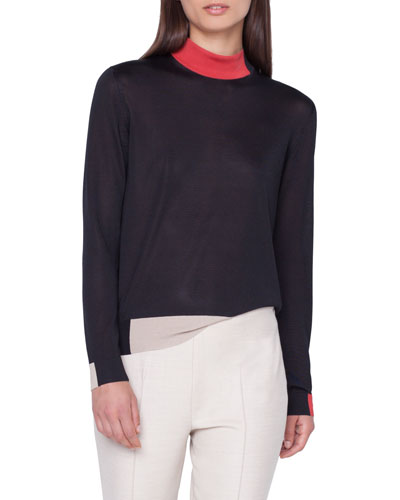 Silk Crepe Lines Intarsia Mock-Neck Pullover Sweater
