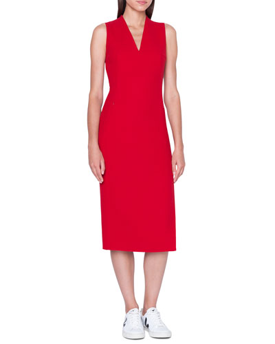 8e33cf612f Quick Look. Akris · Sleeveless V-Neck Wool Double-Face Sheath Dress.  Available in Red