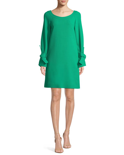 Boat-Neck Tie-Cuff Long-Sleeve Crepe Tunic Dress