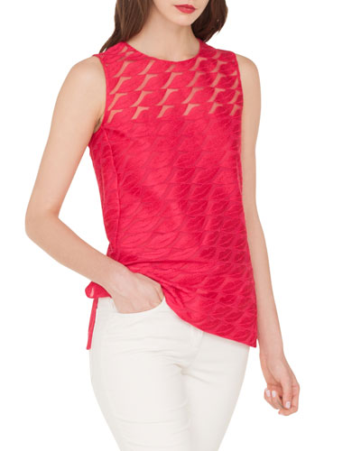Lips-Embroidered Sleeveless Blouse w/ Side Slits