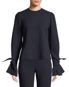 Lela Rose Tie-Sleeve Crewneck Stretch-Wool Top