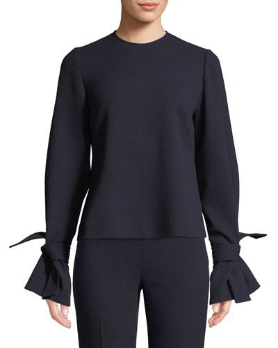 Tie-Sleeve Crewneck Stretch-Wool Top