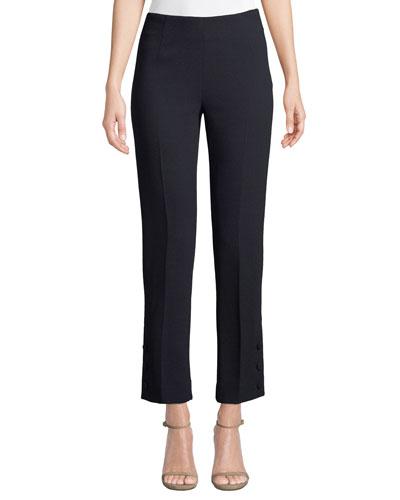 Button-Placket Straight-Leg Stretch-Wool Pants