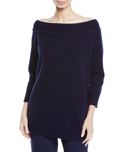 Off-the-Shoulder Wool-Cashmere Sweater